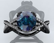 Victorian inspired 14k Black gold Engagement Ring Diamond Ring 1.50 ct VVS Alexandrite  SW4A14BK