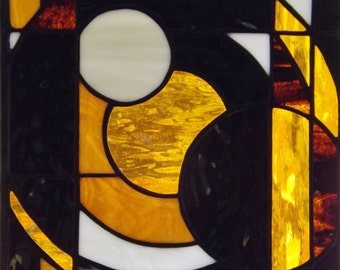 Stained Glass Amber Black White Circles Abstract Home Office Window Panel Wall Hanging Sun Catcher