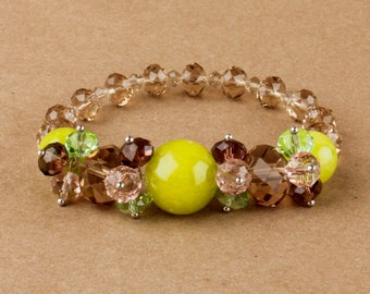 Lime Agate Crystal Bracelet/ Summer Fashion/ Beaded Boho Chic/ Gypsy Nomad/ Crystal Bracelet Summer Stacking Beadwork Floral Chic
