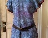Nuno Felted Tunic with Stitching, Nuno Felted Clothing, Textiles, Felt - Silk Tunic/Dress,Turquoise Tunic