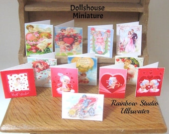 dollhouse valentine day cards x 12 dollhouse 12th scale  lakeland artist new
