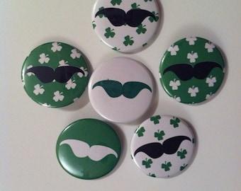 "Mustache Buttons / Mustache Pins - St. Patricks Day (Set of 6) - 1.5"" Pin Back Buttons"