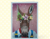 Bottom Illustration - Blank Greeting Card - Donkey Midsummer Night Dream