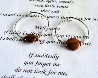 Copper Lentil  Bead And Stainless Steel Hoop Earrings