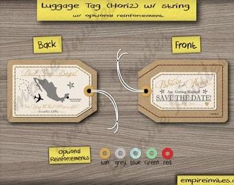 Luggage Tag Save the Date Wedding Invitation, Custom Destination Wedding Invite  | Handmade in Canada by  ---- www.empireinvites.ca ---