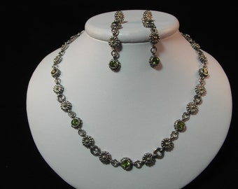 Stunning Estate Sterling Silver Peridot Set