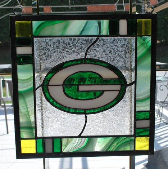 Stained Glass Green Bay Packers Panel Suncatcher Wall Hanging