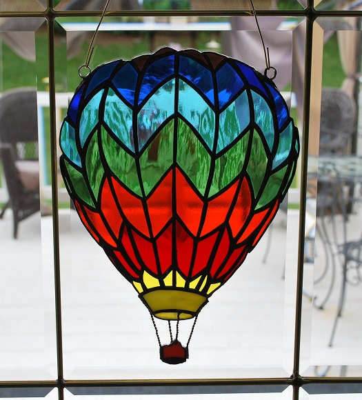 Stained glass hot air balloon suncatcher wall hanging