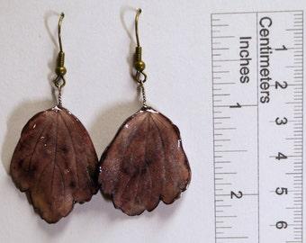 Earrings - Poplar leaves - Porcelain (BO34)
