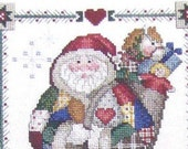 Leisure Arts Christmas Patches Counted Cross Stitch Pattern Book Full Color Charted Designs Needlework Angel Santa Claus Sandi Gore Evans