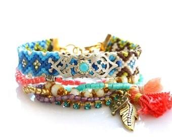 Friendship Bracelet,Tribal Bracelet,OOAK,Swarovski,Multiple Strands,Tassel charm,Jewelry Set,bohemian bracelet,Ethnic,aztec,navajo,christmas