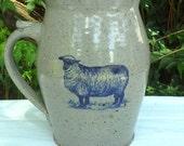 Hand Made Artist Signed Fired Stoneware Pitcher Bastine Pottery Blue Lamb Sheep