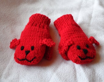Hand Knit Children's Red Dog Mittens -size small