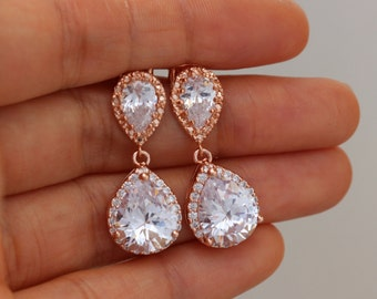 rose gold wedding earring rose gold earrings , pink gold wedding earring wedding jewelry bridal jewelry