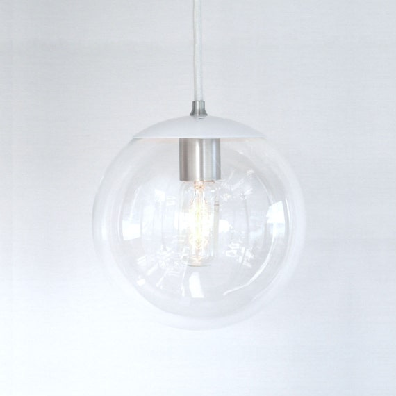 White pendant light mid century modern 8 clear by for Mid century modern globe pendant light