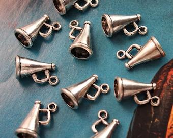 10 Megaphone Charms megaphone Pendants Antiqued Silver Tone 3D 8 x 16 mm