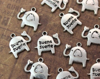 10 Buena Suerte Elephant with Heart Charms Elephant Pendants Antiqued Silver Tone12 x15 mm