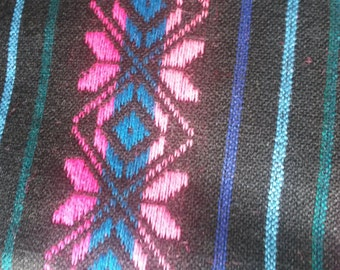 2 yards x .87 yard black Mexican Fabric (cambaya) with colorful mexican embroidery patterns