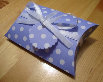 Pillow Boxes - Purple Polka Dot - Qty: 10 - Party Favors - Treat Boxes - Gift Boxes