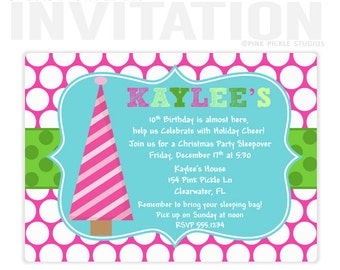 Pink Polka Dot Christmas Birthday Party Invitations, personalized thank you cards, birthday invitations, party invitations / No.154