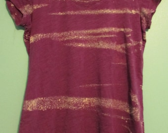 Purple v-neck t-shirt with horizontal bleach lines, size small