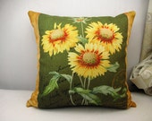 Linen pillow cover Throw Pillow Cover decorative pillow cushion cover sunflowers pillow double sides design Art pillow/home decor