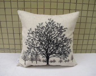 Linen pillow cover Throw Pillow Cover decorative pillow cushion cover  Tree pillow double sides design