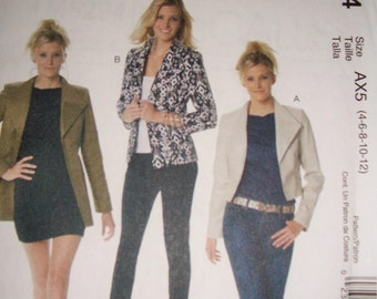 New Uncut  McCalls M6294 Lined Jacket Pattern in Three Lengths  Sizes 4-6-8-10-12