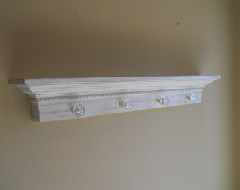 """48"""" Distressed Wall Shelf, Wall ledge with Rope Detail and Glass Knobs"""