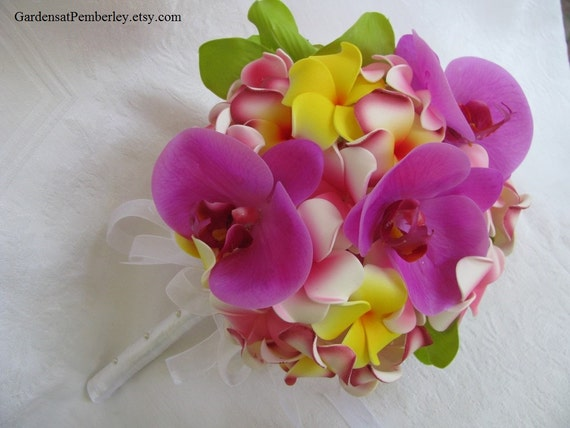 Orchid And Plumeria Silk Bridal Bouquet