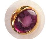 Purple Gold Oval Shank Button -1 inch retro shank button - sasakimu