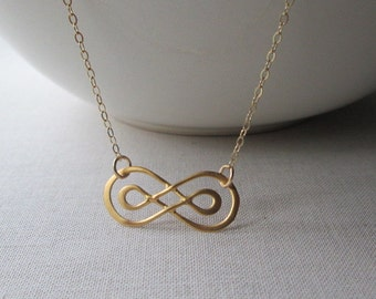 Gold Double Infinity Necklace /  Gold Necklace / Gold Vermeil Double Infinity / Gold Infinity Pendant / Wedding Jewelry / Bride/ Bridesmaids