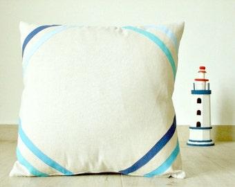 ON SALE! Light blue striped pillow cover 18x18, linen pillow, nautical pillow, coastal pillow cover, scandinavian design, blue nursery decor