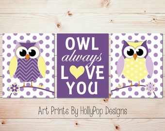Owl Nursery Art Owl Always Love You Modern Nursery Wall Art Baby Girl Nursery Art Prints Purple yellow Decor Owl Nursery Prints #0638