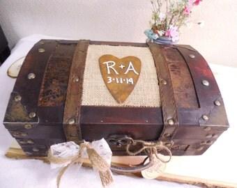 Medium Personalized Rustic, Shabby Chic Wedding Card Box-Keepsake Box-Anniversary Gift-Wedding gift-Wedding Card Trunk