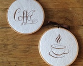 Set of 2 Embroidered Coffee Hoop Art Wall Hangings Decor Plaques ~ Kitchen Cafe Decor Decoration