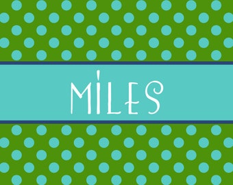 Personalized Placemat - 12x18 laminated placemat polka dots