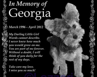 "Personalized Dog Cat Pet Memorial 12""x12"" Engraved Granite Grave Marker Plaque ""Georgia"""