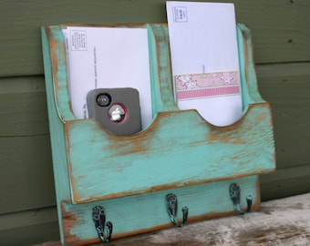 Mail Organizer-Mail Holder-Letter Holder-Organizer-Mail and Key Holder-Wall Mounted Key Rack-Mail Rack-Mail Sorter-Double