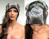 SLOUCHY BEANIE Monkey Hat Slouch Hat Beanie Hat Brown Hat Upcycled Beanie Oversized Beanie Slacker Beanie Beanie Cap Green Beanie