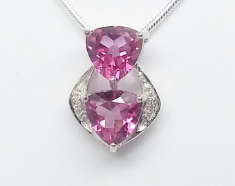 3.89ctw Pink Topaz & White Topaz Sterling Silver Pendant