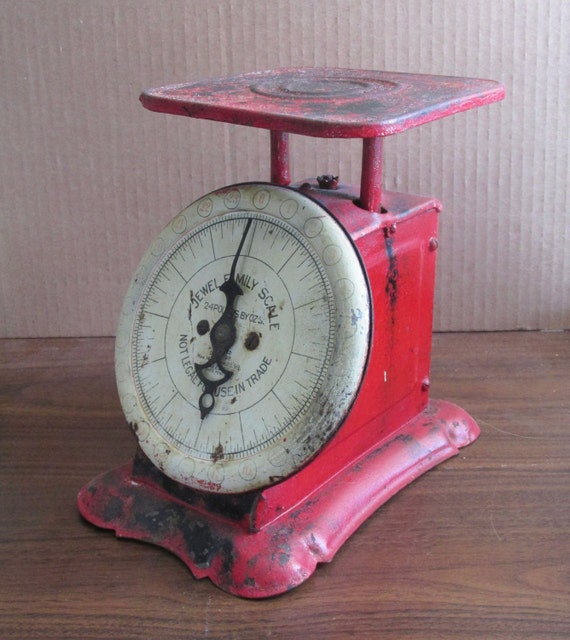 Antique Red Kitchen Scale Jewel Jamily Scale 24 Pound Works