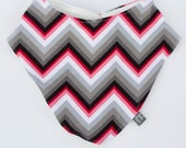 SALE pink multi color grey chevron bib. Scarf. drool bib. Fits infant to toddlers.