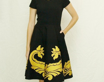 Playing it Koi Dress: Custom Made Dress in Black with Hand Screened Golden Koi