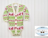 Christmas/Holiday Baby Preppy Cardigan: Reindeer Ugly Sweater Party Print on Ivory (Cardigan only)