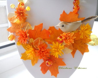 Autumn necklace, natural necklace, a necklace with a bird, leaves necklace, orange necklaces, necklace made of polymer clay