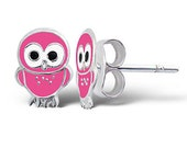 Cute Pink Baby Owl Studs Earrings pure 925 sterling silver, hypoallergenic, girls, childrens gift jewellery UK