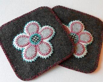 Handmade Felted Wool Mug Mats - Yowza!