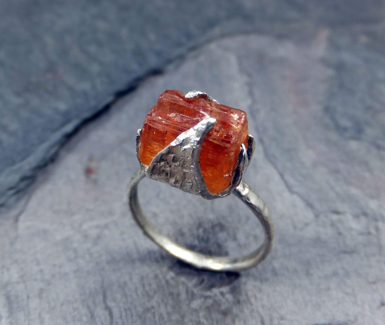Raw Rough Uncut Imperial Topaz Ring Orange Gemstone by ...Raw Imperial Topaz