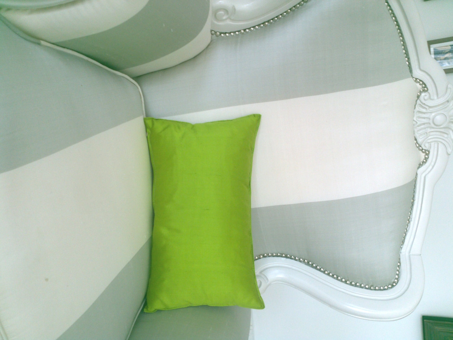 Small Throw Pillow, Silk in Lime Green, Backrest Cushion, Modern Home Decor, Minimal